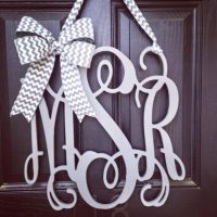 20 inch 3 letter wooden front door monogram with bow