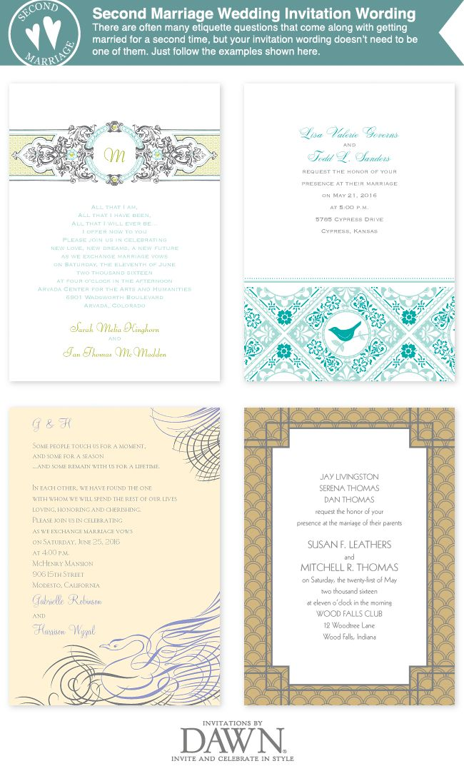 Wedding Invitation Wording For A Second Marriage Wedding