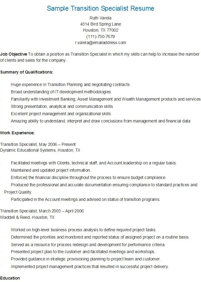 Resume Sample  Career Transition Specialist Resume Example Career