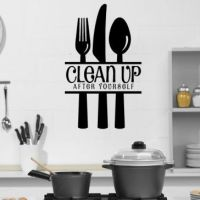 Clean Up After Yourself With Cutlery Wall Stickers Kitchen