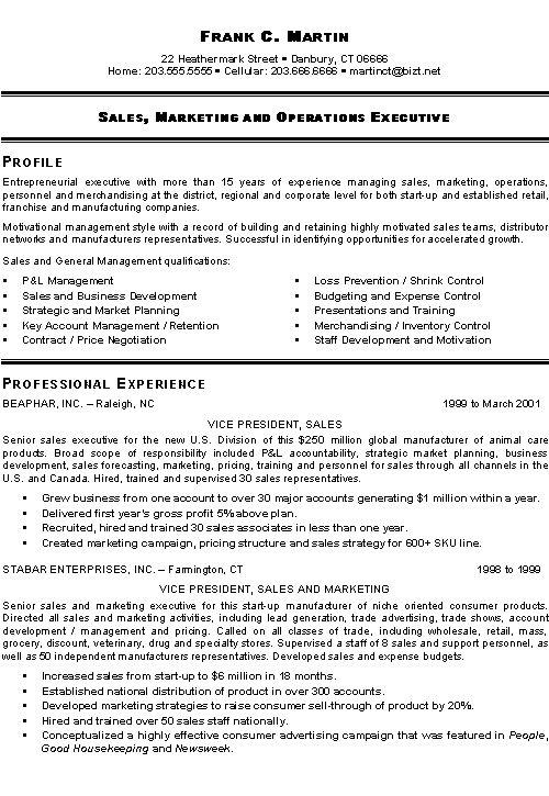 vice president sales resume templates