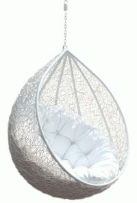 Hanging Chair Rattan Egg White Half Teardrop Wicker ...