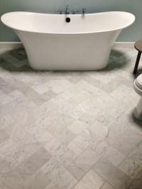 6x12 Venetino marble tiles set in the herringbone pattern ...