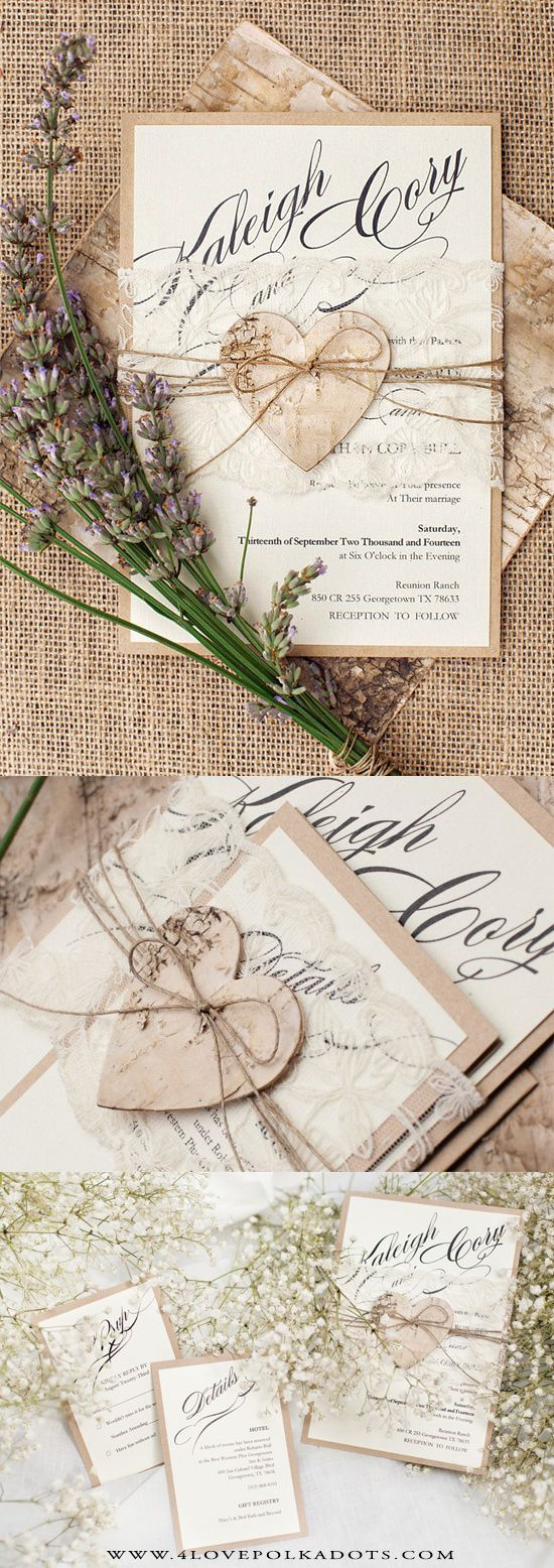 wedding invitations wedding stationery Romantic Rustic Wedding Invitation Lace Birch Bark Heart 4lovepolkadots