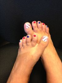 Baseball toenails | fingernail polish and styles | Pinterest