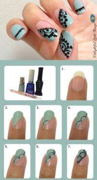Easy nail design tutorial | Fashion | Pinterest | Lace ...