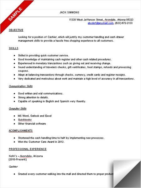 sample cashier resume resume cv cover letter cashier resume - cashier job description for resume