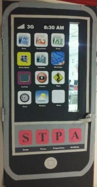 This is an ipod themed door for a technology classroom