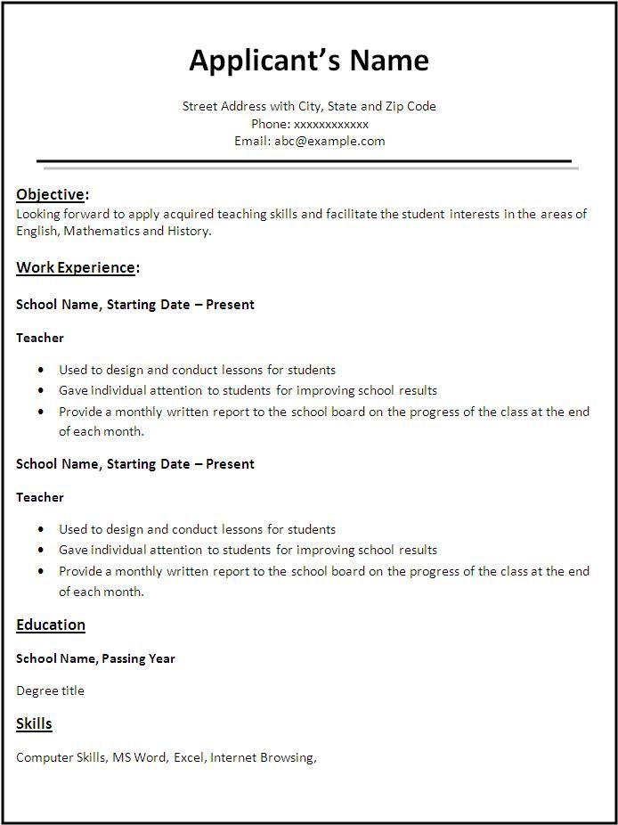 resume template word for teacher
