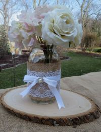 Decorated Mason Jar and Wood Slice Wedding Centerpieces ...