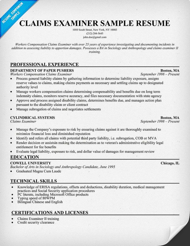 Medical Claims Examiner Training And Education Program Options Claims Examiner Resume Resumecompanion Resume