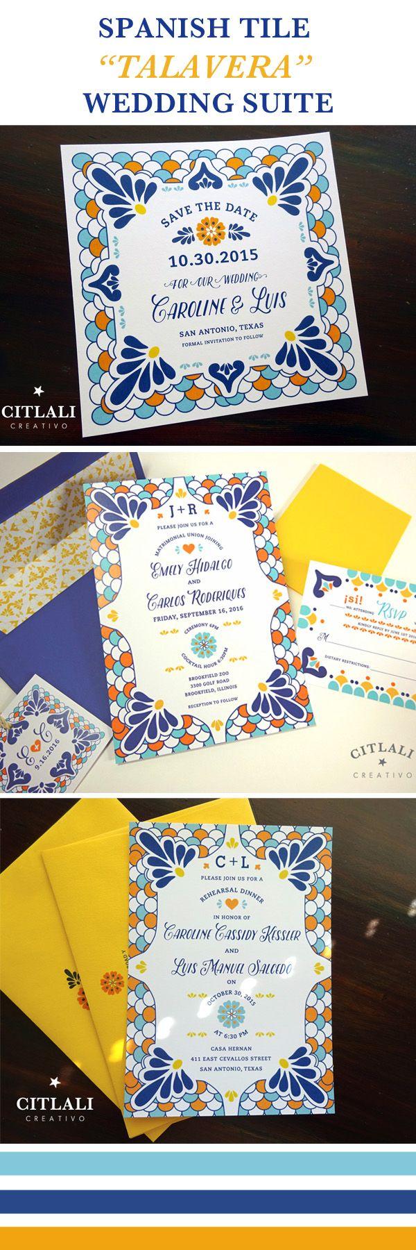 mexican wedding invitations mexican wedding invitations Talavera Wedding Suite Spanish Tile Invitations Save the dates citlalicreativo com