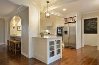 open kitchen layouts separated by columns