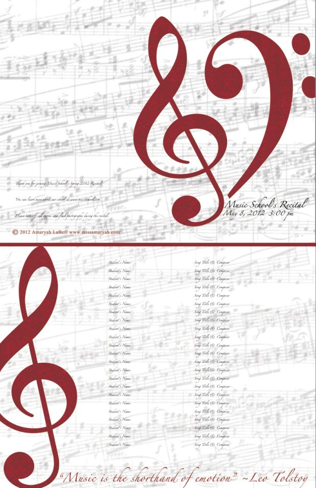 vocal recital program template
