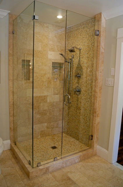 Tiled Shower Stall Designs Clear Glass Shower Stall With Marble Tile. | Bathrooms