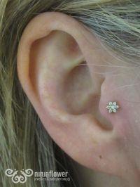 Tragus piercing with cz flower   Tragus   Pinterest ...