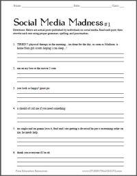 Social Media Madness Grammar Worksheet #1 | Free worksheet ...