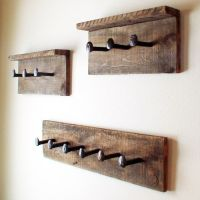 Rustic coat rack, wall hanger with 6 railroad spike hooks ...
