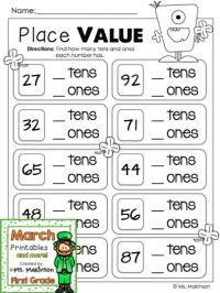 Place Value Printable Worksheets First Grade - first grade ...