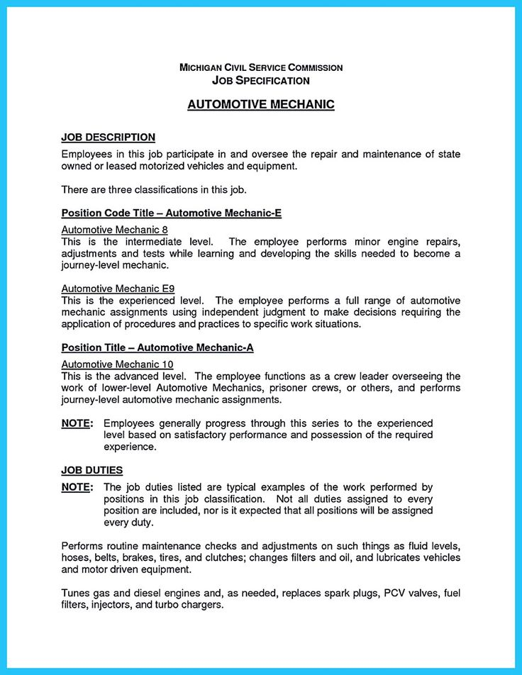 resume objective examples for automotive technician