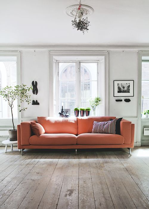 Sofa Setup Ideas Coral Couch (via My Unfinished Home) (my Ideal Home