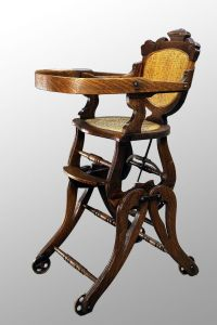 Antique Victorian Oak Children's High Chair/Rocker ...