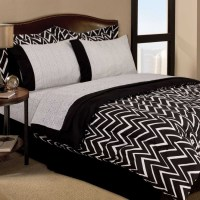 Retro Zigzag Dorm Teen 6pc Black White Twin Comforter ...
