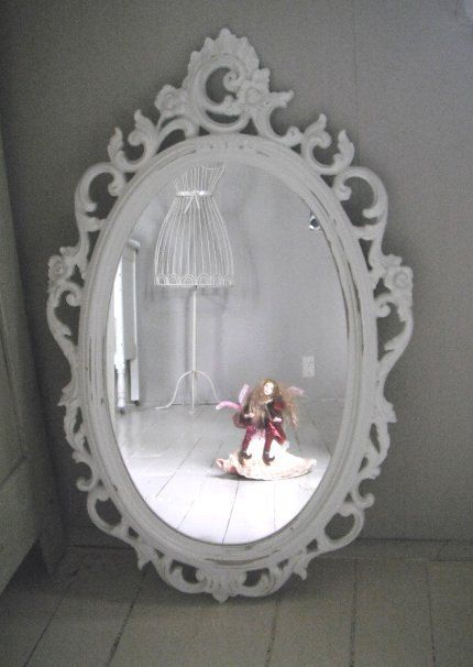 Wall Mirror Cheap Syroco Vintage Painted Oval Mirror In Cottage White