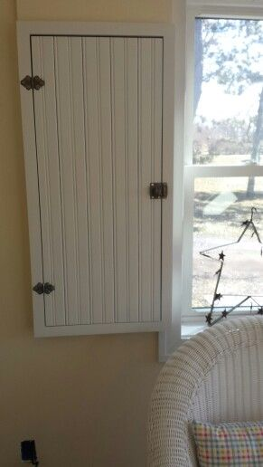 wooden framed doors over fuse box