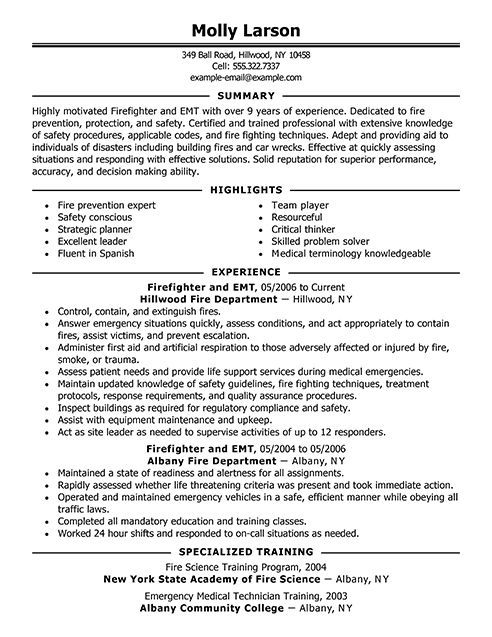 sample resume for fire service promotion