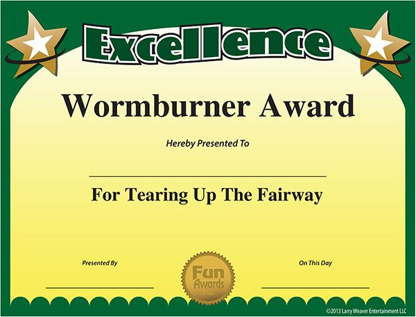 funny golf awards certificates