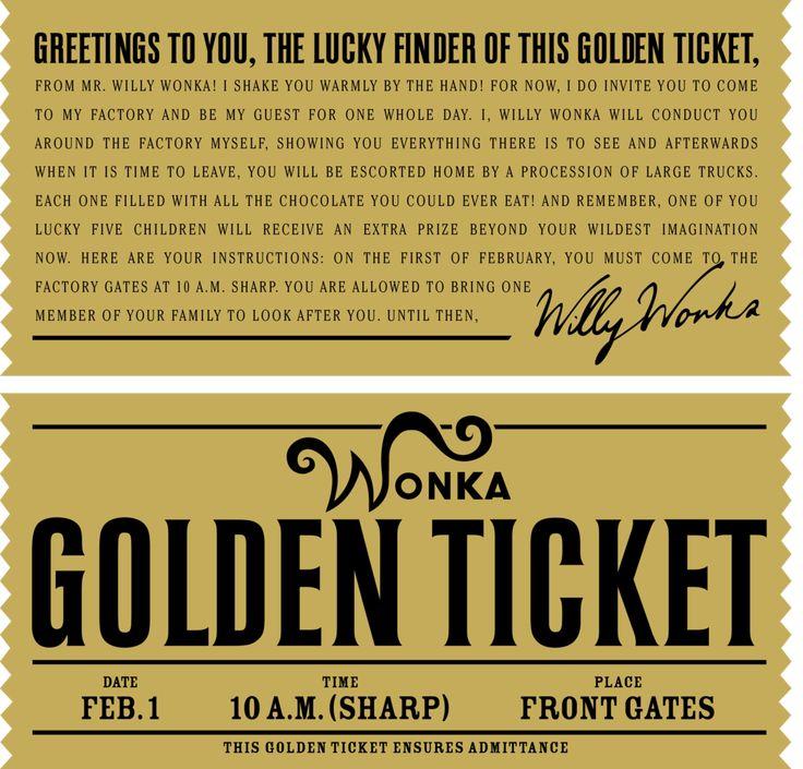 25 Best Ideas About Golden Ticket On Pinterest Wonka