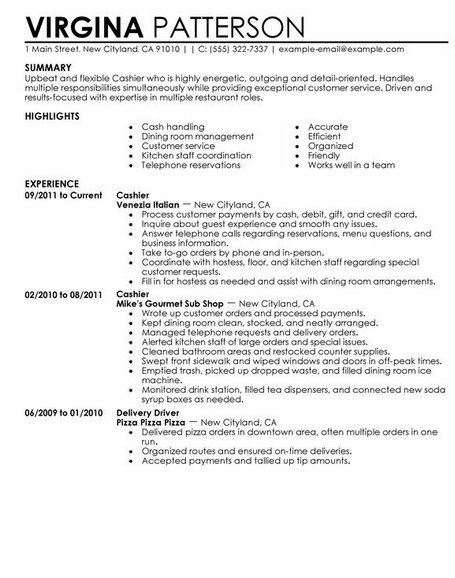 resume for fast food cashier