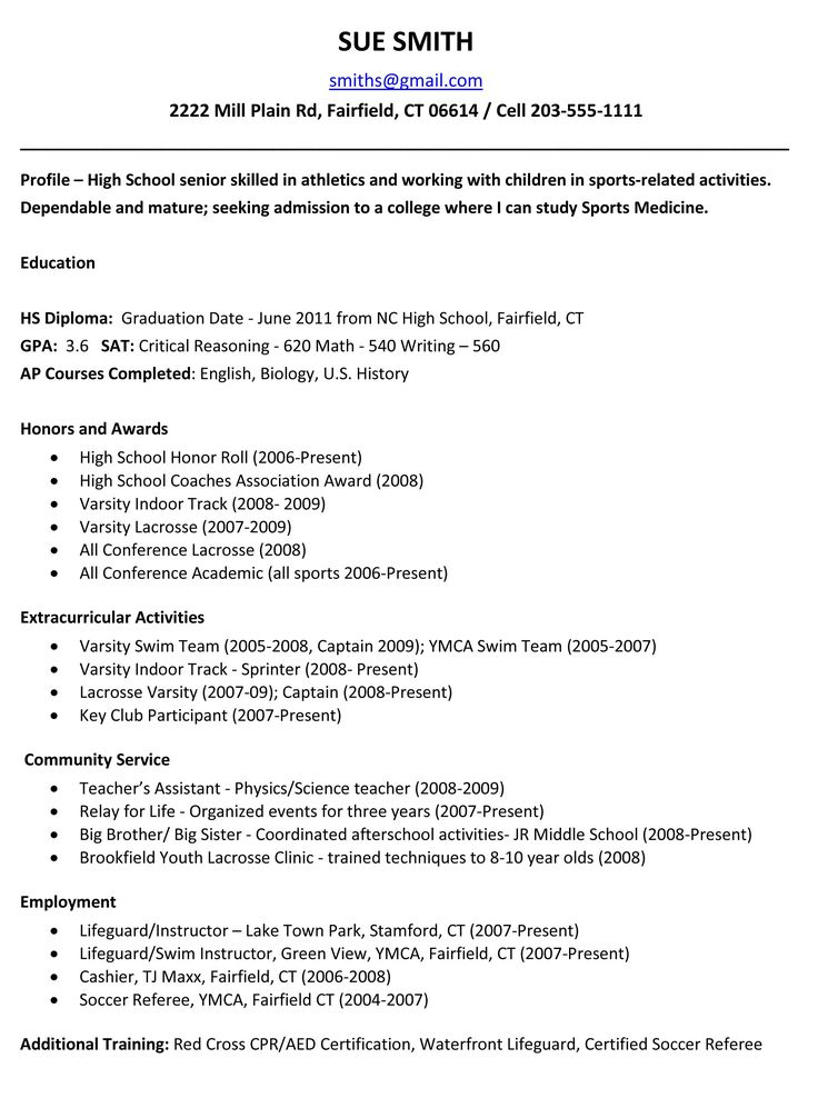 Resume Template For High School Graduate High School Student - best high school resume
