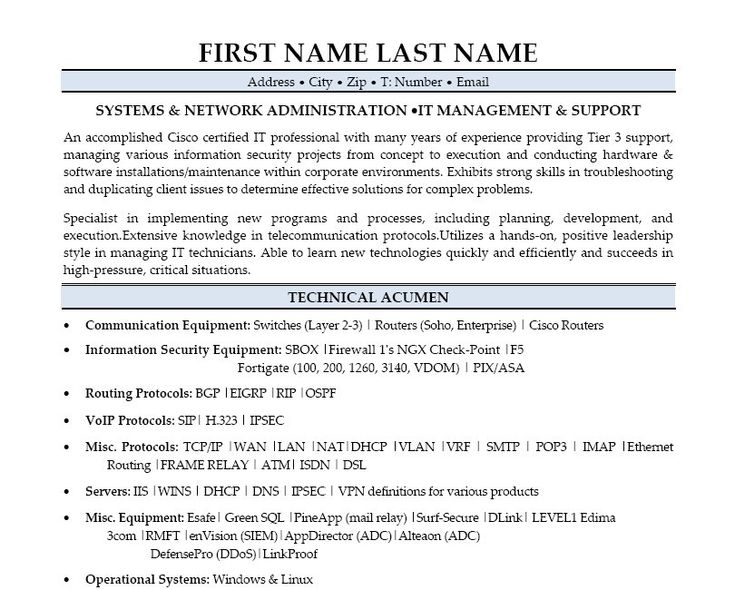 resume format in word for system administrator