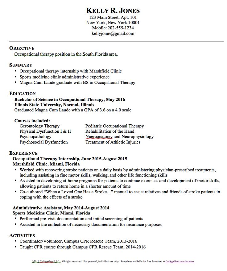 free sample occupational therapy job resume template