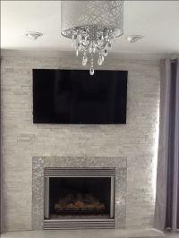 Modern / Contemporary White quartz ledger stone fireplace ...
