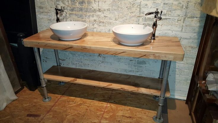 Custom made double vanity handcrafted of ambrosia maple the