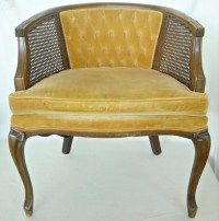 Mid Century French Cane Chair Barrel Back Hollywood ...