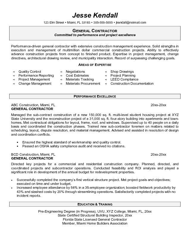 example of great resume s general contractor