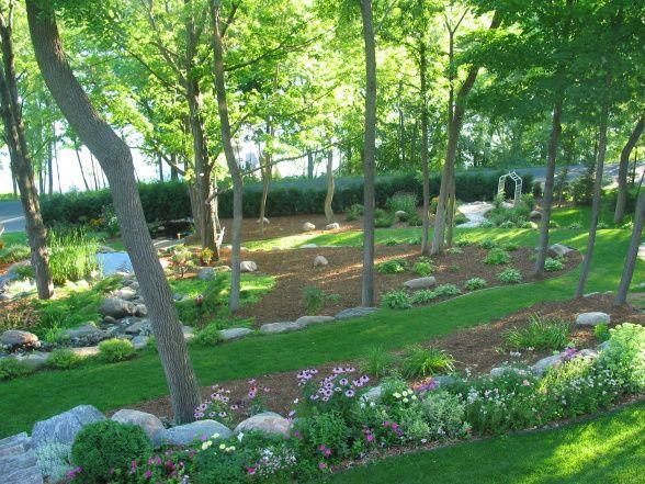 sloping backyard design