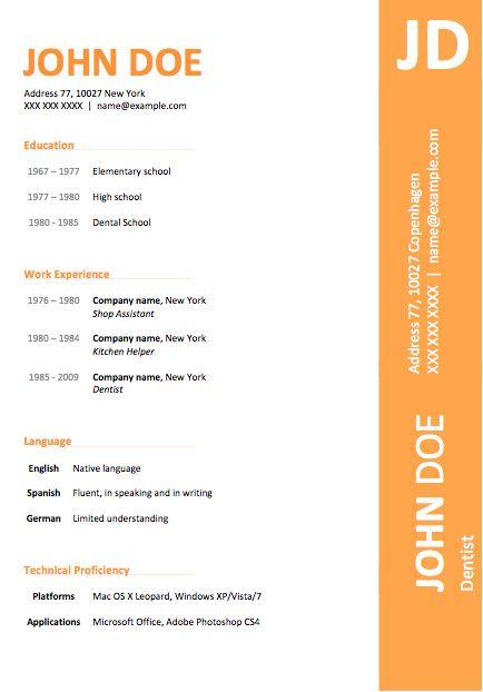 resume modern template open office