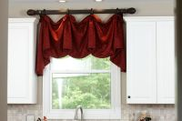 Kitchen Window Treatments above the sink. Decorative Rod