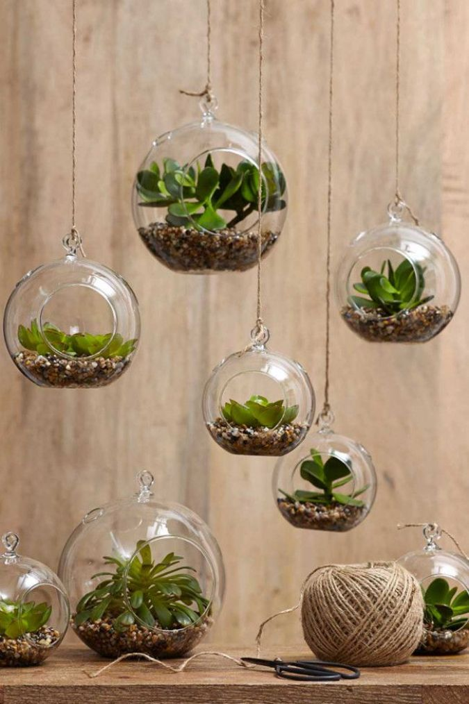 1. Hanging terrariums Create mini-garden worlds filled with your favourite small plants in hanging glass...
