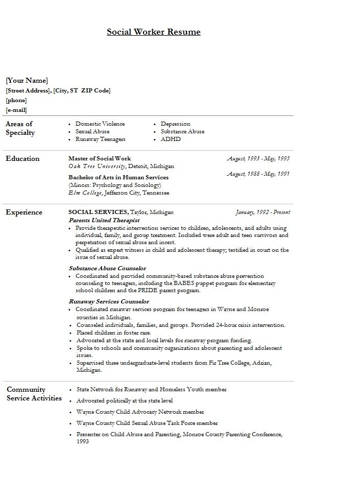 resume cover letter examples for social worker social worker aaa - human service resume