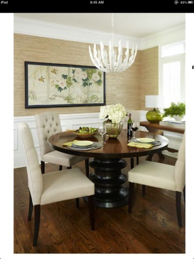 Grasscloth wallpaper, wainscoting, furniture placement (note console), World Market chairs ...