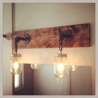 Industrial/Rustic/Modern Wood Handmade Mason Jar Light ...