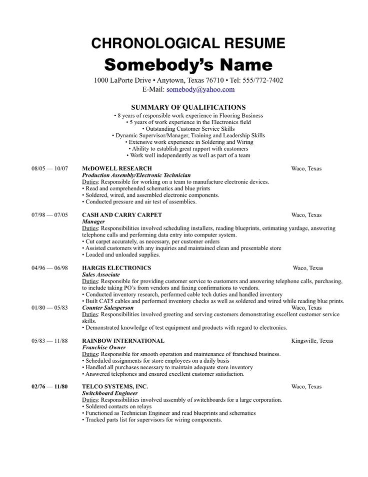 resume templates non chronological