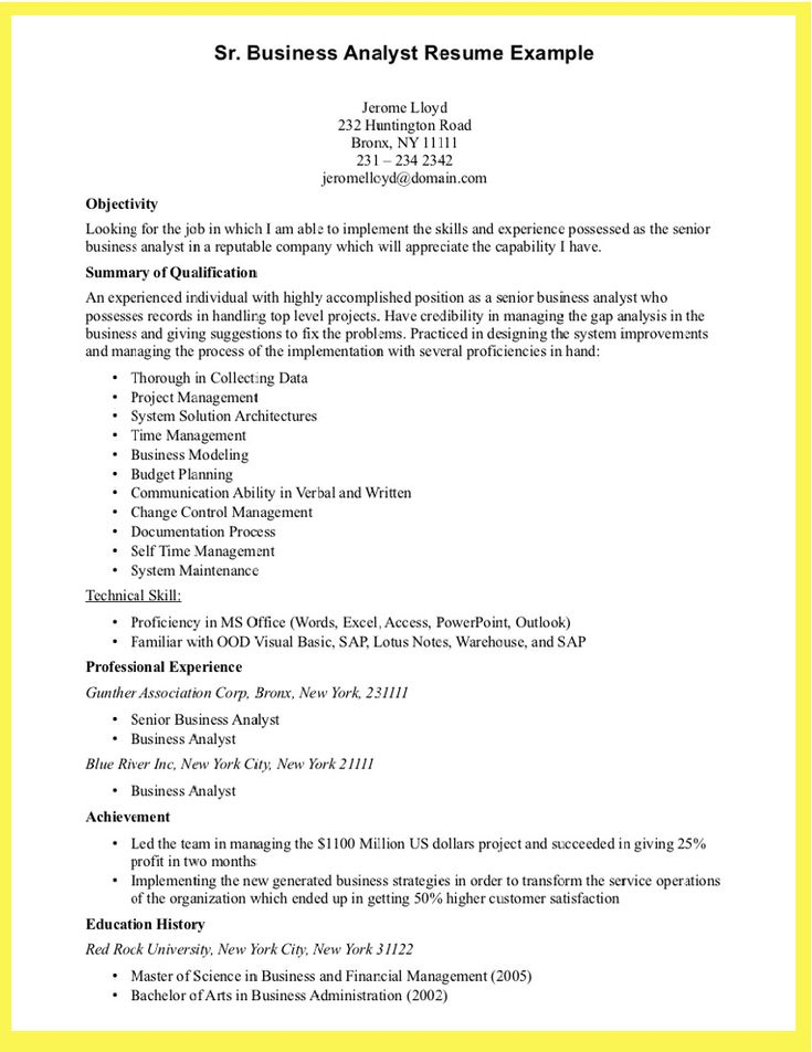 Professional Business Resume Template Example Resume For - sap business analyst resume