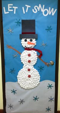 Let it snow, cotton balls snowman, and snowflakes ...